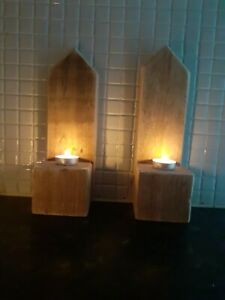 Wooden Candle Holder Decorative x2 pair Handmade candle Sconce reclaimed timber