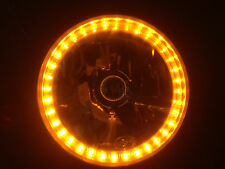 "PAIR (2) 7"" HALOGEN HEAD LIGHT AMBER LED RING TURNSIGNAL HEAD LAMP FRONT ORANGE"