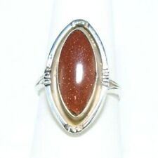 Sterling Silver Womens Goldstone Marquise Cut Ring SZ 7.5 A35