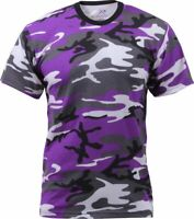 Mens Purple Camouflage Tactical Military Short Sleeve T-Shirt