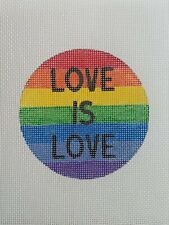 Handpainted Needlepoint Canvas Ornament, 18m, Love is Love Rainbow Pride Flag