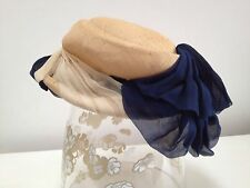 VINTAGE 1930s/40s WEBRON straw Miss Marple hat with navy and cream silk trims