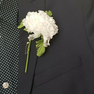 White Carnation Button Hole (Pack of 6)