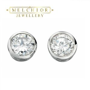 925 Solid Sterling Silver Clear Round Cubic Zirconia Studs 7mm