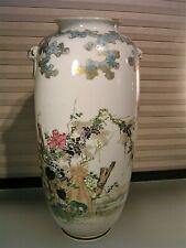 Japanese Seto Satsuma Porcelain Vase Signed Wisteria Meiji Period