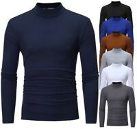 Casual Plus Size Slim Tops Men's Fit Long Sleeve Neck Solid Shirt Turtle