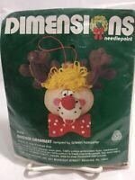 Vintage Dimensions Wool Needlepoint Reindeer Christmas Ornament Kit Rudolf 9008