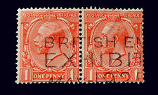 Great Britain 1912 King George V 1p used/ Block of 2 / British Exhibition