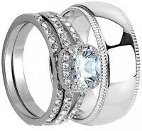 3PCS HIS HERS WEDDING RING SET MATCHING BAND MENS and WOMENS Stainless Steel NEW