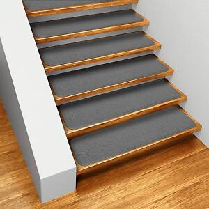 "Set of 12 SKID-RESISTANT Carpet Stair Treads 8""x23.5"" GRAY runner rugs"