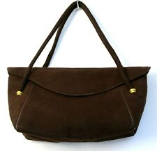 VINTAGE 40' GUCCI ITALY BROWN GENUINE LEATHER SUEDE CUTE FLAP BAG HANDBAG PURSE