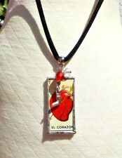 HEART LOTERIA  MILAGRO CRYSTAL BEAD &  CORD LADIES NECKLACE WITH FREE SHIPPING