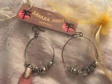 5G2  new Hoop Earrings Ethnic Tribal Aztec Hippy Boho hoop Indian crystal drop