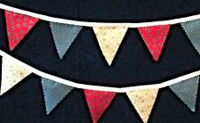 Christmas Bunting. Handmade Double Sided Fabric Xmas designs. Approx. 3 Metres.