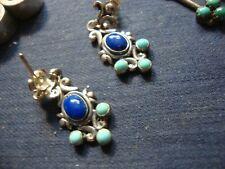 925 Sterling Silver Earrings Native American Zuni Lapis Estate