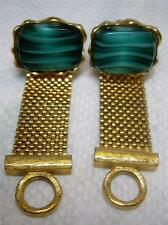 Vintage - Dante Golden Wrap Type Cufflinks w/ Green Oval Imported Stones - W/Box
