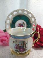 vintage Royal cup and saucer JAPAN courting couple lusterware green band gold...