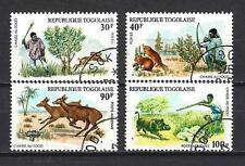 Animaux faune sauvage chasse Togo (128) série complète de 4 timbres oblitérés