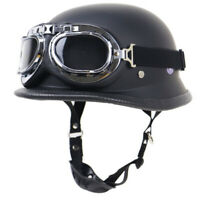 DOT German Style Motorcycle Half Helmet w/Goggles Matte Black Chopper Scooter L