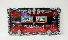 Skull & Chain License Plate Frame - Cruiser Accessories - Chrome and Black