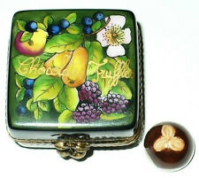 LIMOGES BOX ~ CHOCOLATE CANDY TRUFFLES ~ FLOWER & FRUITS ~ PEINT MAIN ~ MIB