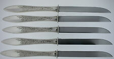 GORHAM WHITE PAISLEY STERLING SILVER STEAK KNIVES WITH GERBER BLADES 5 PCS