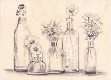 Bottle Row of Flowers  Vintage Inkadinkado Rubber Stamp  w/m  Free Shipping  NEW