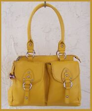 Barr & Barr LARGE Leather SATCHEL Tote HandBAG Dust Bag & HangTAG Yellow!