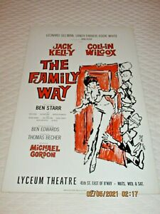 BROADWAY WINDOW CARD- 1965-5 PERFORMANCE-FLOP- THE FAMILY WAY- JACK KELLY-COLLIN