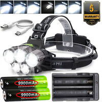 Headlamp 200000LM 5XT6 LED Rechargeable Headlight Torch 9900mah 18650 Batteries