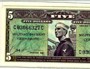 "$5  (SUPER RARE) ""MILITARY PAYMENT CERTIFICATE"" (SERIES 661)  SUPER CRISPY!!!!$5"
