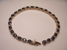 Gorgeous Estate 14K Pink Rose Gold Diamond Sapphire Tennis Bracelet