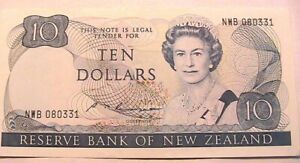 1985 New Zealand 10 Dollars CH XF+/AU Original Paper Money Note Currency P172b