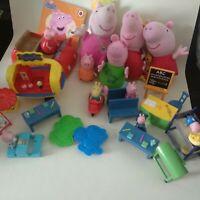 Peppa Pig Bundle Figures & Plush Furniture Car School Picnic Book Rebecca Rabbit
