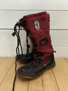 Pajar Canada Women's Nylon Woven Duck Tall Boots Green Leather Size 37 Uk 4.5