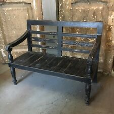 Distressed Vintage Antique Style Wooden Childs Bench Black