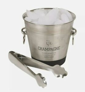 Stainless Steel Champagne Metal Party Bowl Wine Beer Ice Cooler Bucket With Tong