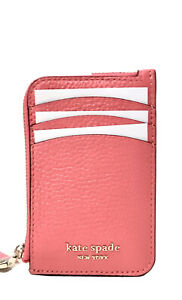 Kate Spade Roulette Leather card holder zip coin wallet key ring peach melba New