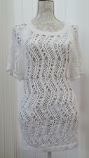 NEXT WHITE KNITWEAR CABLE Hand CROCHET CHUNKY Long TOP Cover Up S 8 10 Petite 36