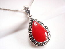 Red Coral Marcasite Teardrop Necklace 925 Sterling Silver Corona Sun Jewelry