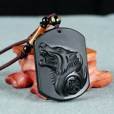 Natural Obsidian Wolf Totem Rope Chain Chain Necklace Pendant