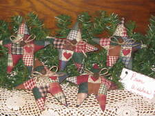 5 Handmade patchwork fabric Stars wreath-making Country Christmas Home Decor
