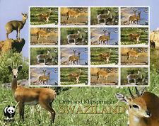 Swaziland Wild Animals Stamps 2000 MNH Oribi & Klipspringer WWF Deer 16v M/S