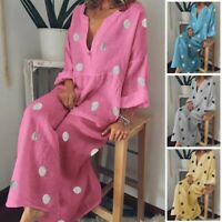 Long Dress Tunic Boho Plus Size Casual Cotton Linen Maxi Kaftan Dress US Women
