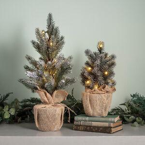 LED Mini Weihnachtsbaum 30cm/50cm Kunst Tanne warmweiße Lichter Batterie Timer
