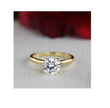 Rings 14k Yellow Gold Engagement ring 3Ct Round Brilliant Cut Moissanite Diamond