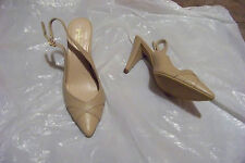 womens merona natural leather pointed toe slingback heels shoes size 9