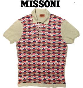 Missoni Men's Multicolor Diamond Check Pattern Cotton Jumper Polo Shirt