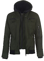 No Fear Double Layered Jacket Green Khaki Coat Mens Large *REF 42