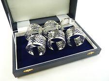 NUOVO-Argento Sterling-Set di 6 anelli di tovagliolo e Portatovagliolo-intrecciate